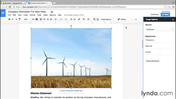 Inserting, resizing, and cropping an image: Google Docs Essential Training