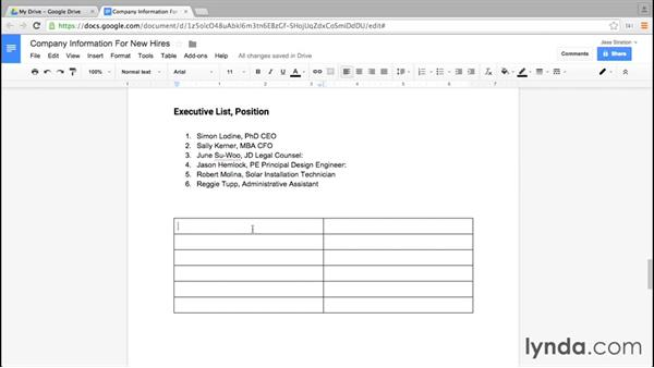 Inserting and removing a table: Google Docs Essential Training