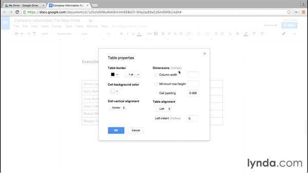 Setting table options: Google Docs Essential Training