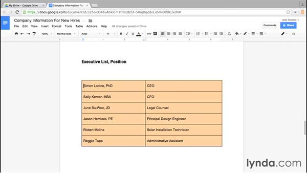Formatting cells: Google Docs Essential Training