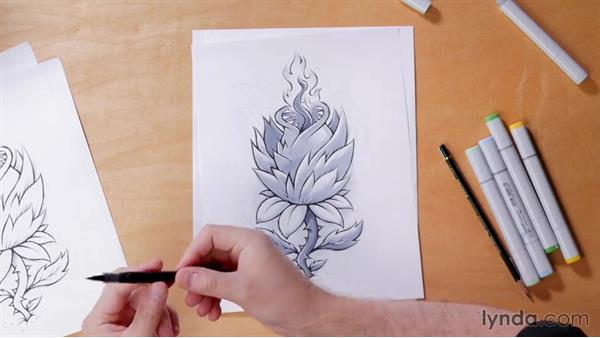 Day 2 solution: Creatively inspired botanicals: 5-Day Drawing Challenge: Drawing Closer to Nature