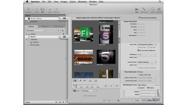 Importing images from an iPhone: Aperture 2 Essential Training
