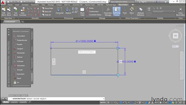 Creating geometric constraints within a block: Designing Dynamic Blocks in AutoCAD