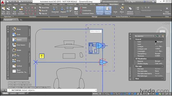 Stretching the desk and phone incrementally: Designing Dynamic Blocks in AutoCAD