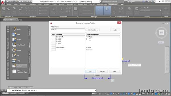 Controlling stretch with a reverse lookup of listed values: Designing Dynamic Blocks in AutoCAD