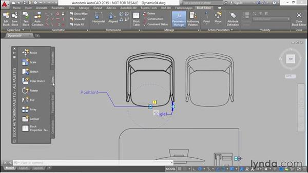 Building position and rotation controls into the armchair: Designing Dynamic Blocks in AutoCAD