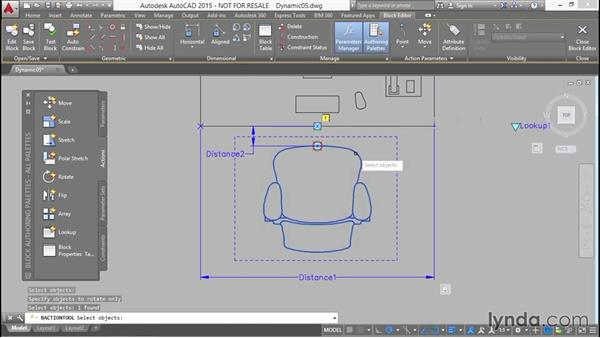 Positioning and orienting the task chair with a polar grip: Designing Dynamic Blocks in AutoCAD