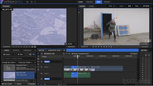 Checking out the editor workspace: HitFilm 3 Pro Essential Training