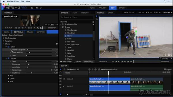 Adding effects in the HitFilm editor: HitFilm 3 Pro Essential Training