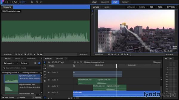 Mixing audio in the editor: HitFilm 3 Pro Essential Training