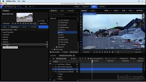 Adding deflectors to weather effects: HitFilm 3 Pro Essential Training