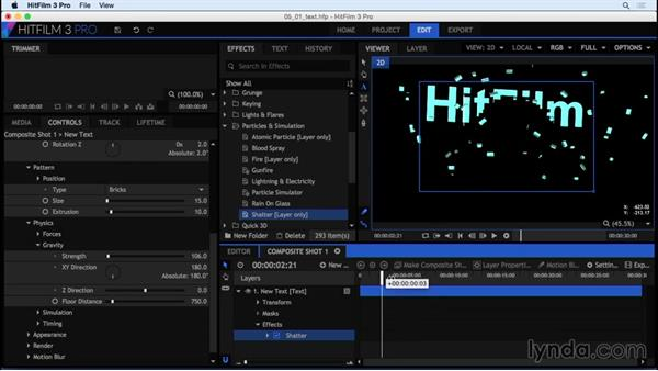 Creating and customizing a text comp: HitFilm 3 Pro Essential Training