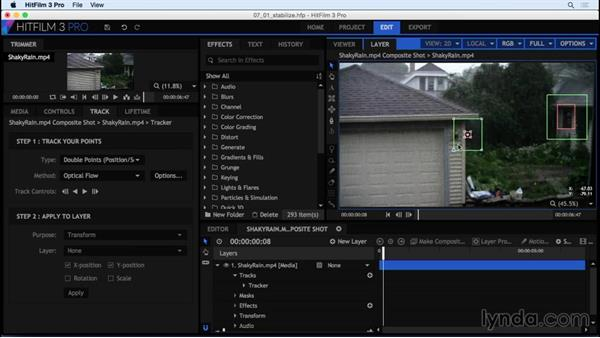 Stabilizing a shaky video: HitFilm 3 Pro Essential Training