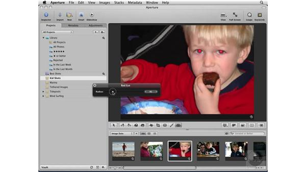Using the Red Eye correction tool: Aperture 2 Essential Training