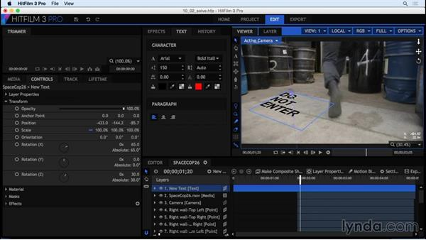 Working with planar tracking data in HitFilm: HitFilm 3 Pro Essential Training