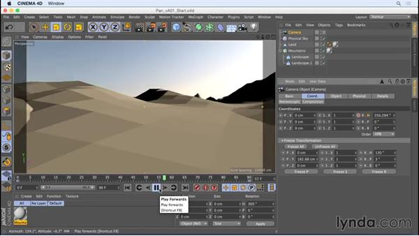 Animating a pan with rotation keyframes: Camera Animation with CINEMA 4D