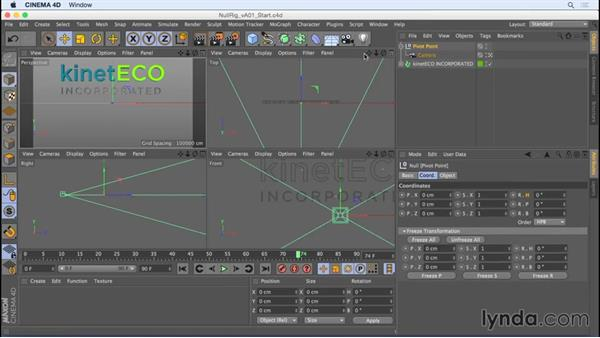 Creating and animating a simple camera rig with a null object: Camera Animation with CINEMA 4D