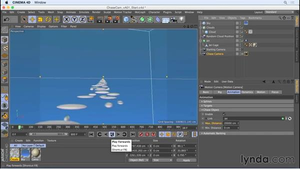 Create a trailing camera with the Chase Object setting: Camera Animation with CINEMA 4D