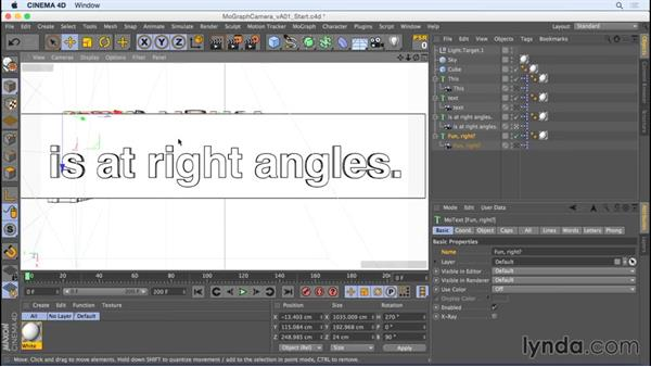 Kinetic type animation with the Camera Morph tag: Camera Animation with CINEMA 4D