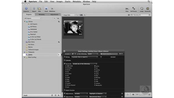 Creating Smart Albums for searching: Aperture 2 Essential Training