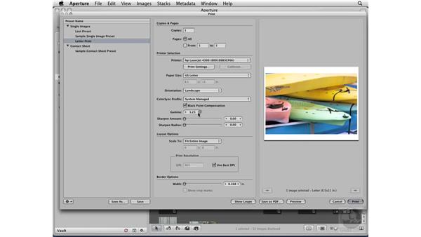 Printing a single image: Aperture 2 Essential Training