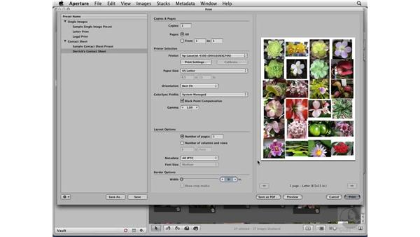 Printing a contact sheet: Aperture 2 Essential Training