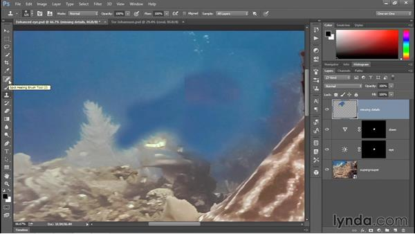 Painting away an unwanted diver: Enhancing Underwater Photos with Photoshop