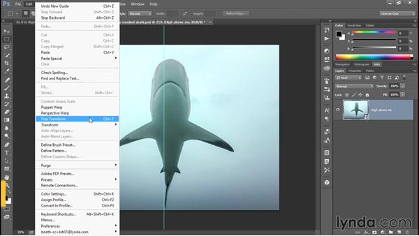 Cropping, straightening, and centering the shark: Enhancing Underwater Photos with Photoshop