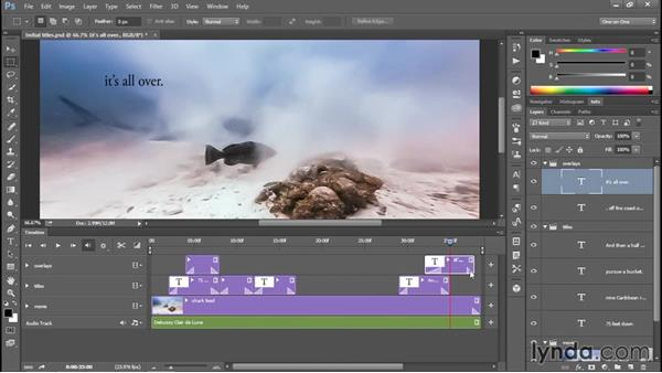 Animating a title and speeding up the render: Enhancing Underwater Photos with Photoshop