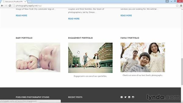 A preview of the final site: WordPress DIY: Showcasing Photography