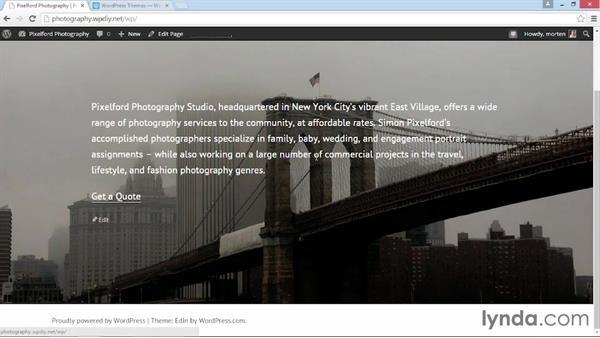 Installing and activating Edin: WordPress DIY: Showcasing Photography