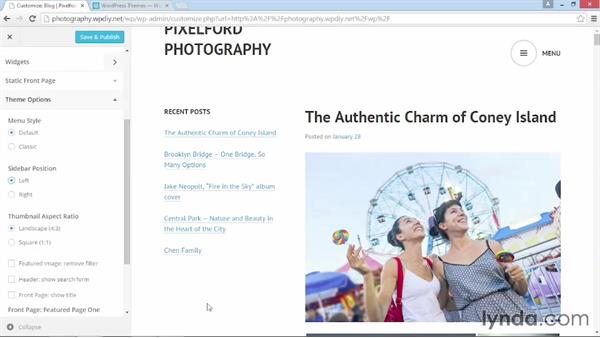 Additional theme-configuration features: WordPress DIY: Showcasing Photography