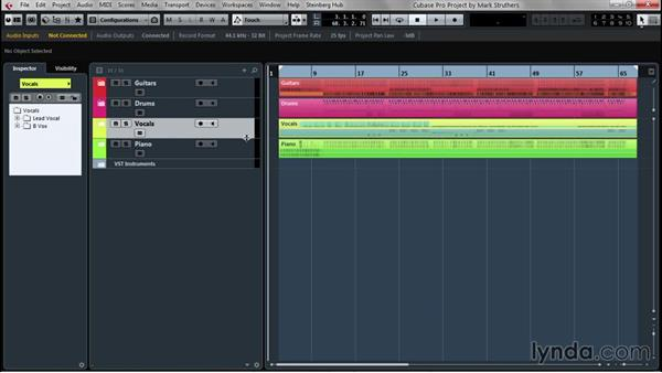 Organizing tracks for clarity and convenience: Up and Running with Cubase Pro 8