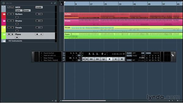 Playback and transport options: Up and Running with Cubase Pro 8