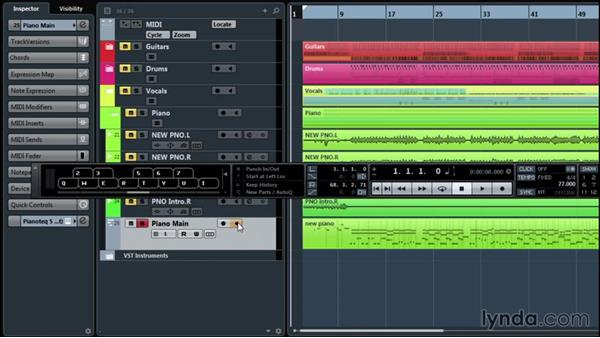 Inputting with the virtual keyboard: Up and Running with Cubase Pro 8