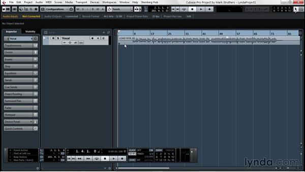 Using parts and events as basic building blocks: Up and Running with Cubase Pro 8
