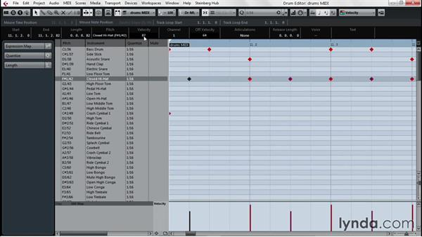 A first look at the Drum Editor: Up and Running with Cubase Pro 8