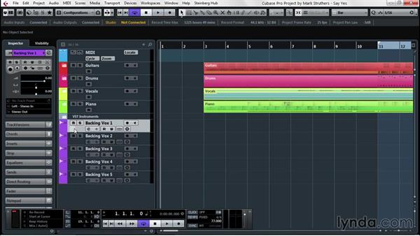 Project enhancing with track handling: Up and Running with Cubase Pro 8