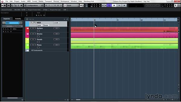 Using markers for swift timeline movement: Up and Running with Cubase Pro 8