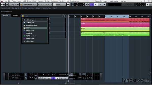 Track visibility for convenience: Up and Running with Cubase Pro 8