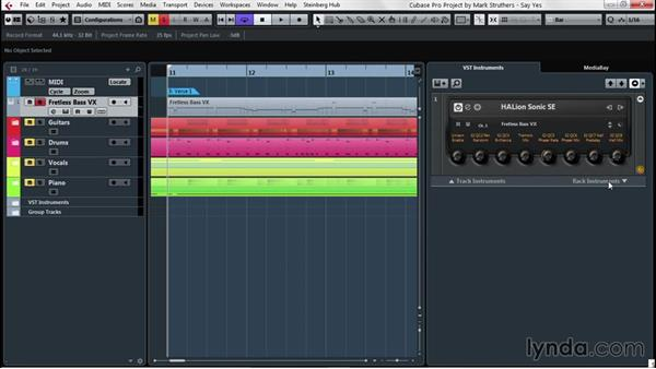 Adding different VST instruments to remix existing performances: Up and Running with Cubase Pro 8