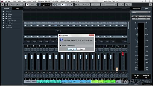 Using channel strips to modify individual tracks: Up and Running with Cubase Pro 8