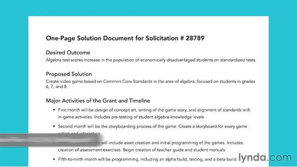 The one-page solution document: Grant Writing for Education