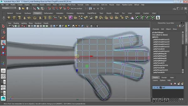 Finishing the hand: Modeling a Cartoon Character in Maya