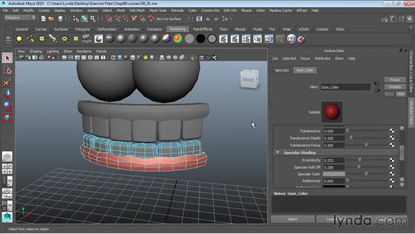 Adding color to teeth and eyebrows: Modeling a Cartoon Character in Maya
