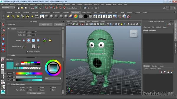Creating a character texture with 3D Paint: Modeling a Cartoon Character in Maya