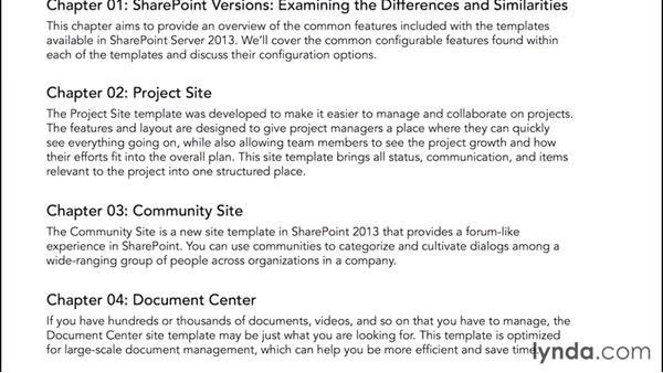 Using the exercise files: SharePoint 2013 Site and Collection Templates
