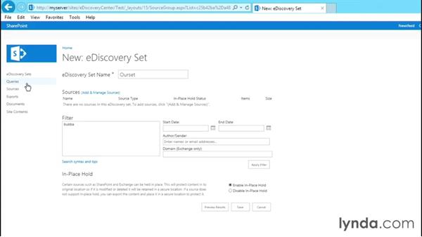 Using the project eDiscovery Center: SharePoint 2013 Site and Collection Templates