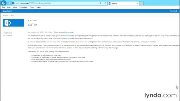 Exploring the features of the Enterprise Wiki site: SharePoint 2013 Site and Collection Templates