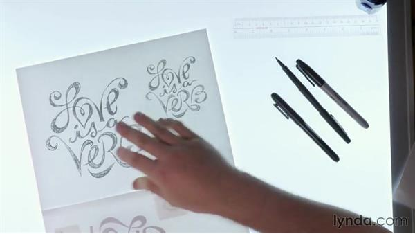 Inking the final art: Drawing Vector Graphics: Hand Lettering